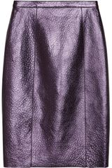 Burberry Prorsum Metallic Textured Leather Pencil Skirt - Lyst