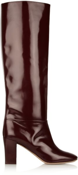 Chloé Glossedleather Knee Boots in Purple (merlot)