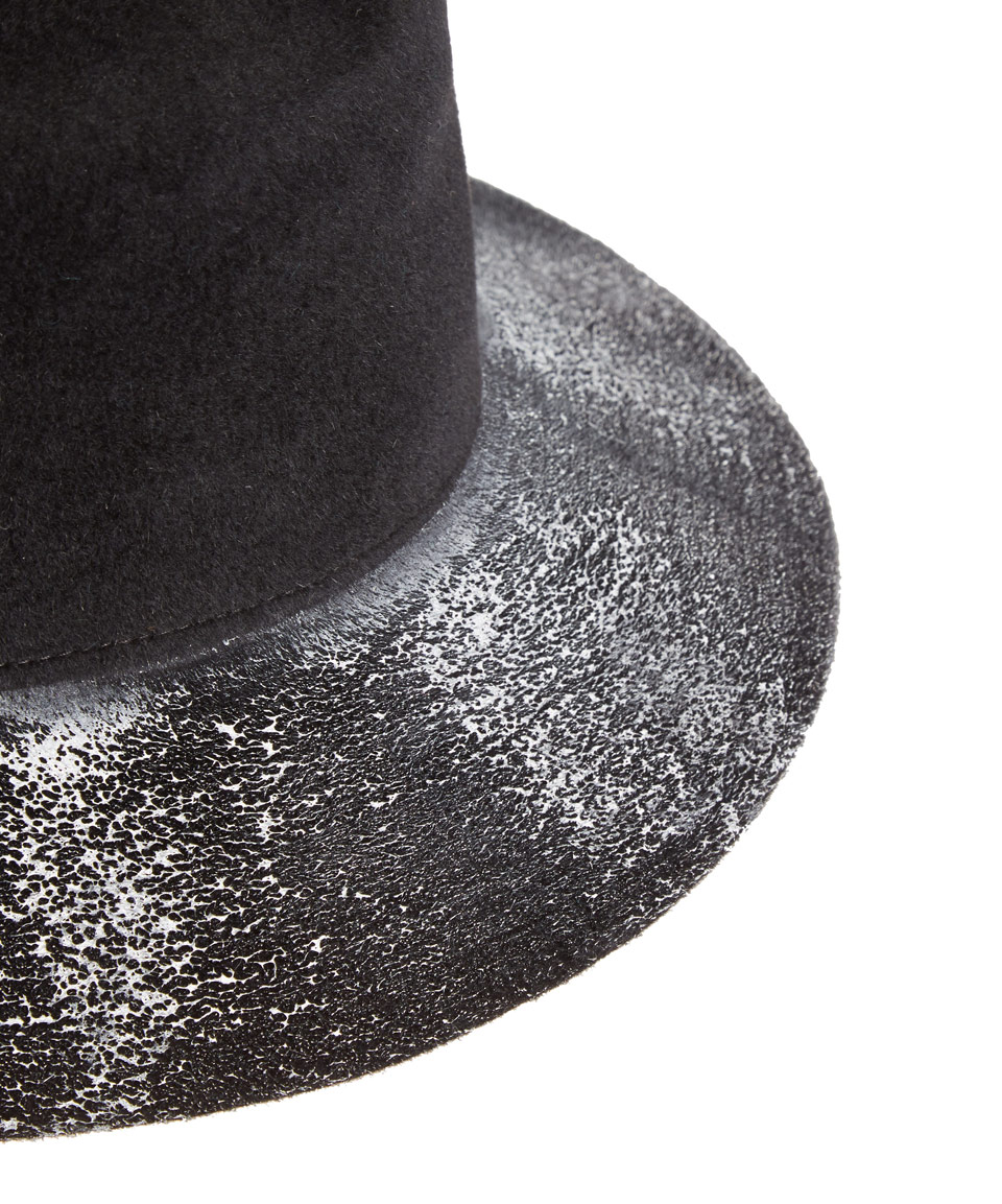 Lyst - Clyde Black Paint Splatter Flat Top Angora Felt Hat in Black fa208588b5a