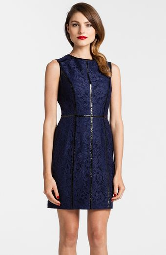 Cynthia Steffe Faux Leather Piping Lace Sheath Dress - Lyst