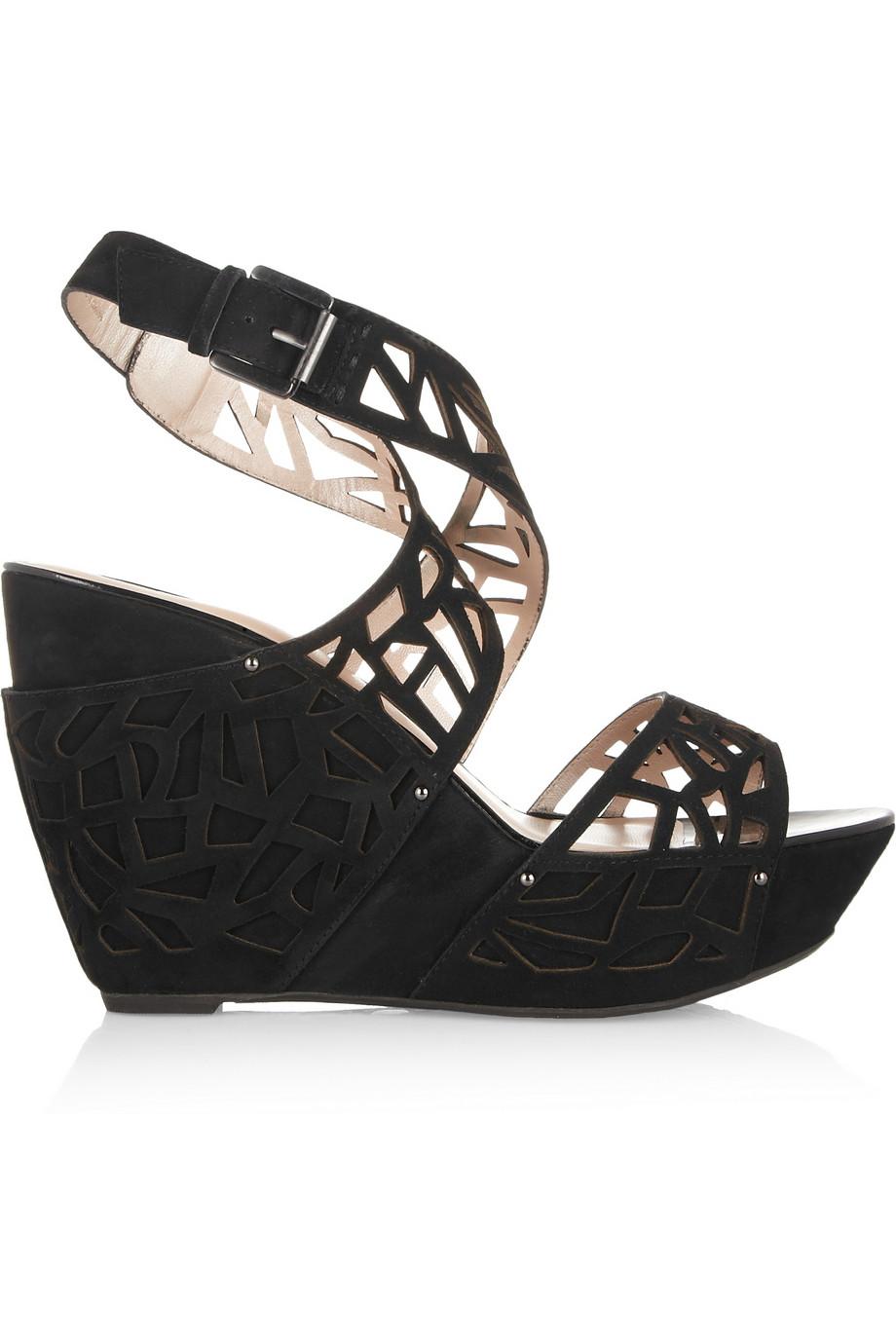 9d69809989f Dkny Margo Lasercut Wedge Sandals in Black - Lyst