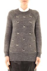 DKNY Embellished Front Sweater - Lyst