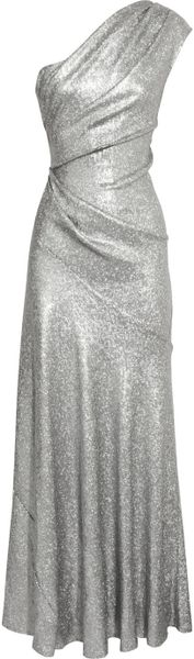 Donna Karan New York One Shoulder Sequined Stretch Mesh Gown in Silver