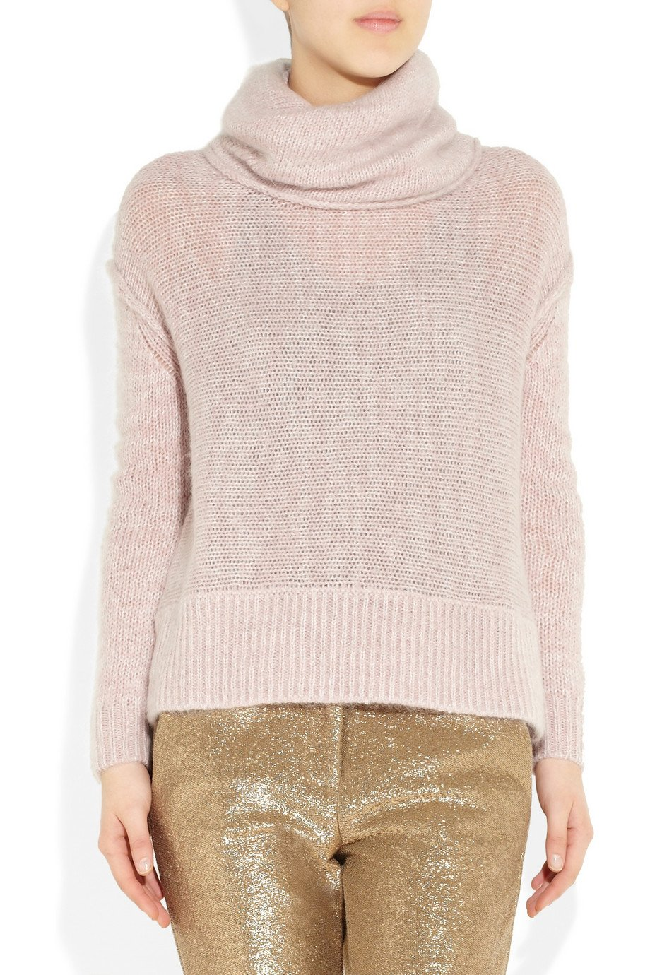 Duffy Knitted Turtleneck Sweater in Pink | Lyst