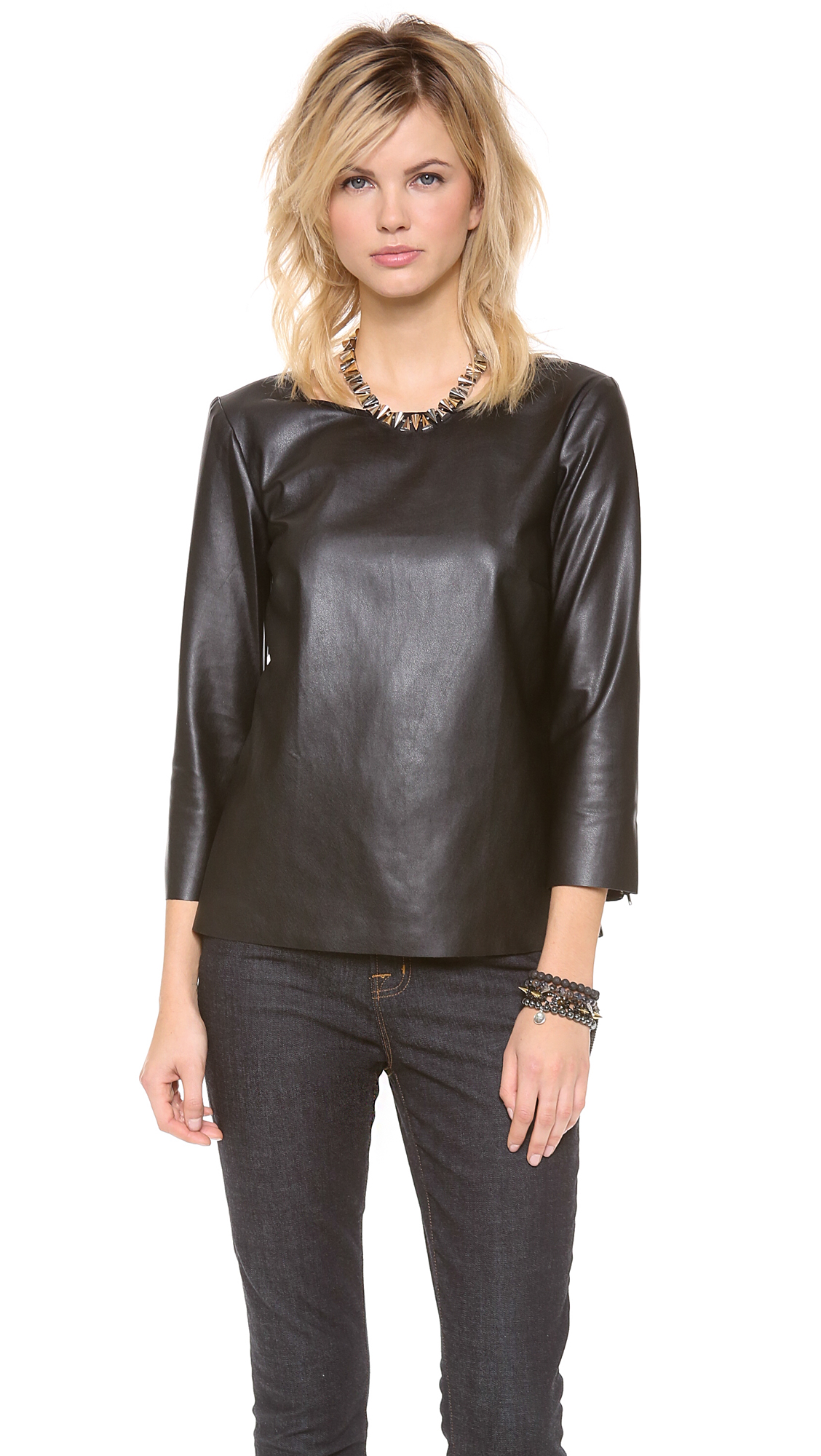 Ella Moss Sandra Faux Leather Long Sleeve Top In Black Lyst