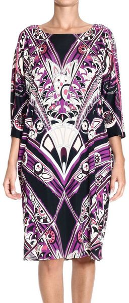 Emilio Pucci Dresses Long Sleeves Tunic Jersey Decofan Print - Lyst