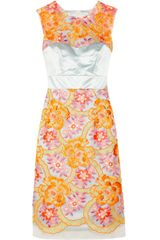 Erdem  Neon Embroidered Organza and Silk Satin Dress - Lyst