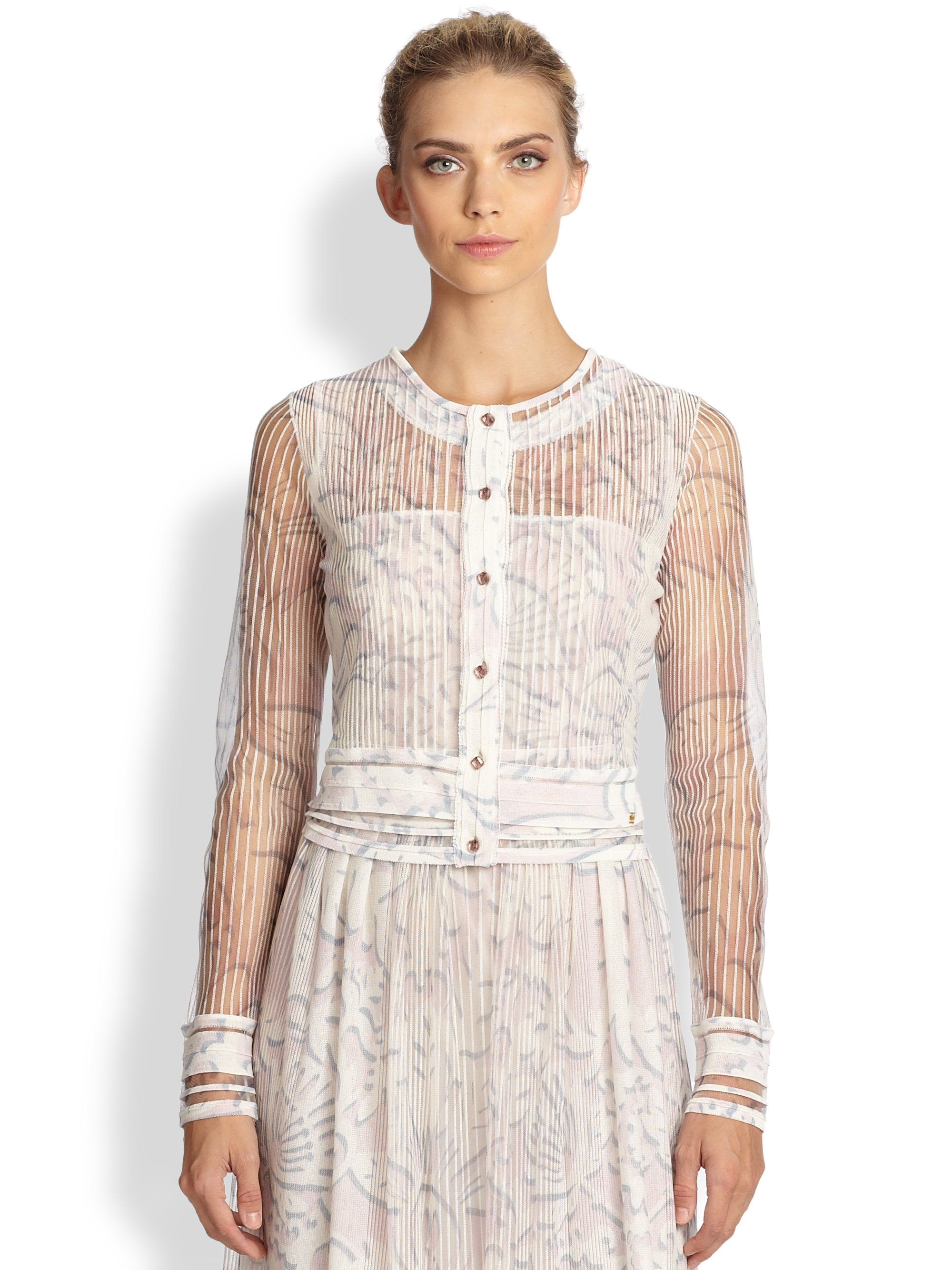 Escada Sebal Sheer Knit Cardigan in Natural | Lyst