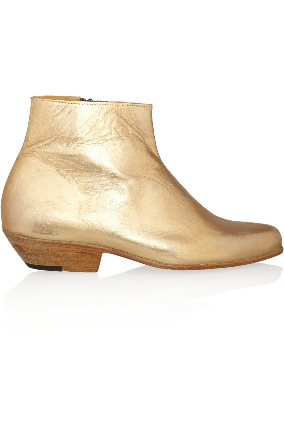 Metallic Leather Boots : Esquivel jett metallic leather ankle boots in gold lyst