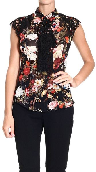 Frankie Morello Shirt Sleeveless Flowers Print Lace and Bow - Lyst