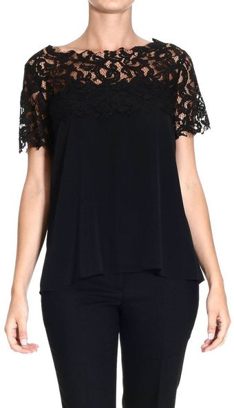 Frankie Morello Top Short Sleeves Cadt Lace - Lyst