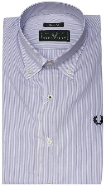 Fred Perry Shirt Botton Down Slim Fit Stretch Striped - Lyst