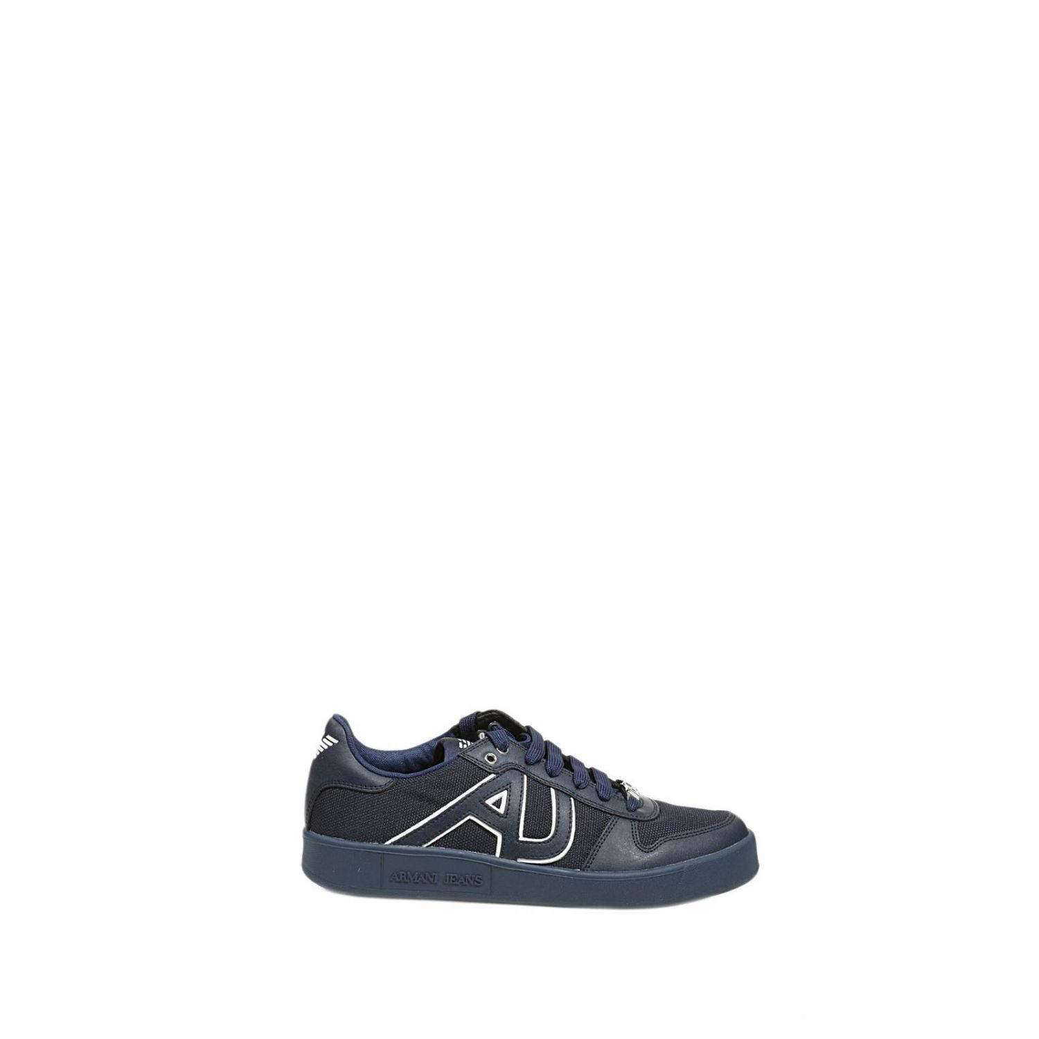 armani shoes tennis leather in blue for lyst