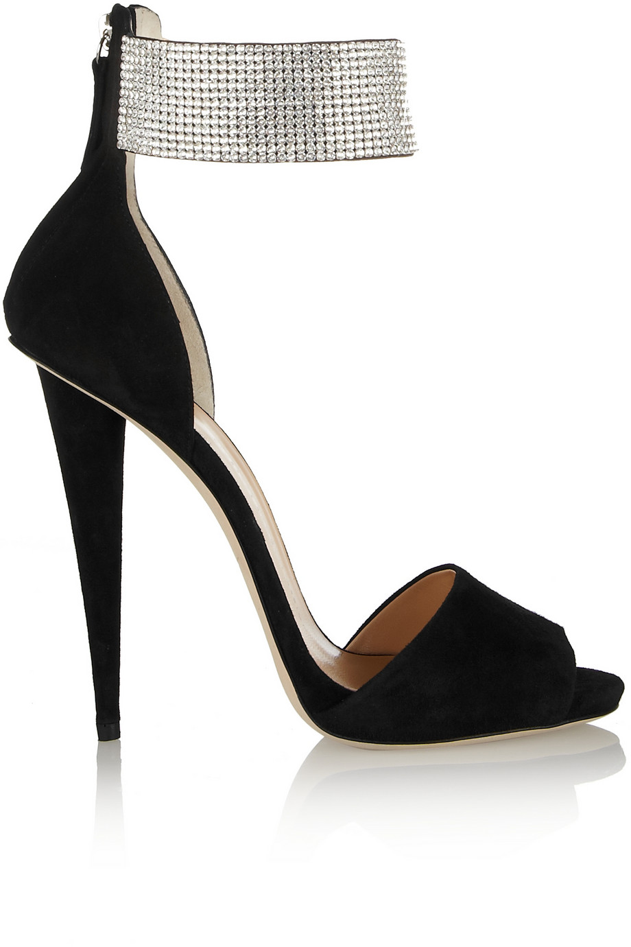 107a480bc720 Giuseppe Zanotti Alien Crystal-Embellished Suede Sandals in Black - Lyst