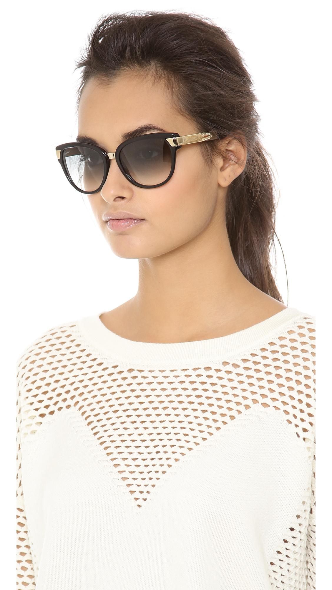 0ac3f2da73c4 Gucci Cat Eye Sunglasses Blackgreen Gradient in Black - Lyst