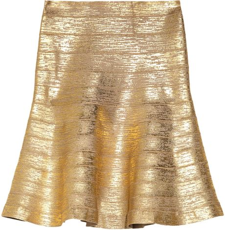 Hervé Léger Metalliccoated Bandage Flared Skirt in Gold (champagne)