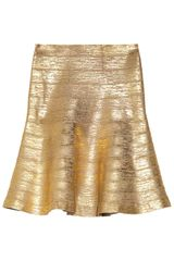 Hervé Léger Metallic Coated Bandage Flared Skirt - Lyst