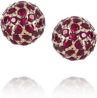Ileana Makri 18karat Rose Gold Ruby Ball Earrings - Lyst
