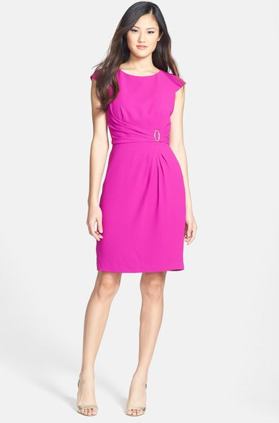 Ivanka Trump Side Ruche Crepe Sheath Dress in Purple (Orchid)