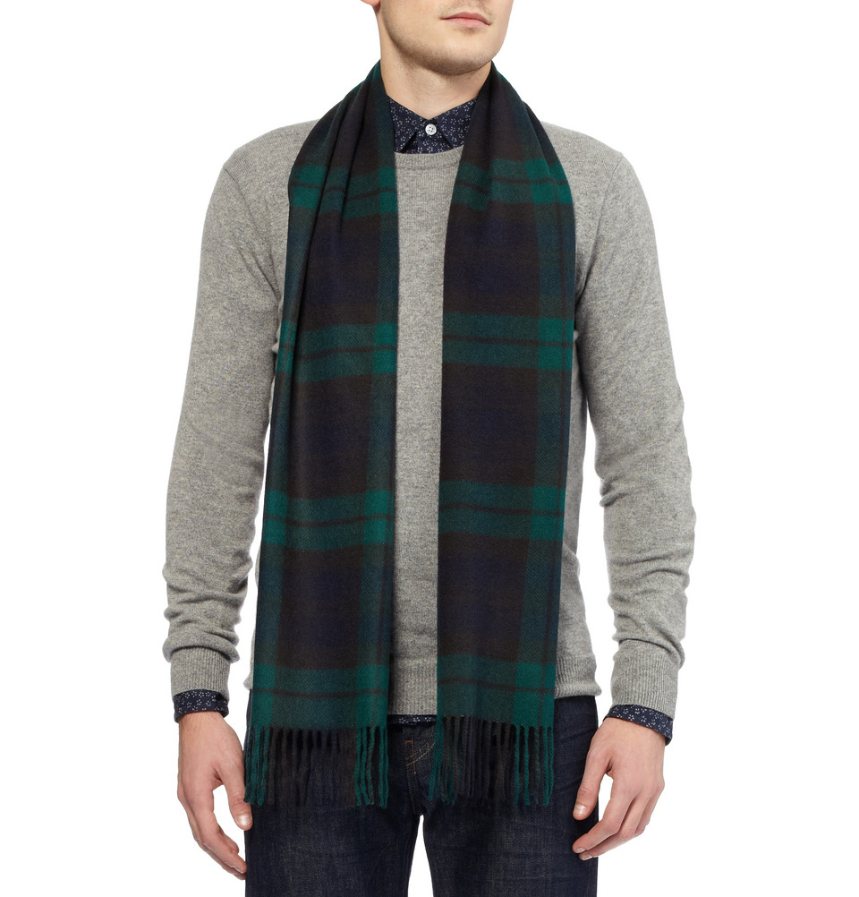 lyst j crew cashmere plaid scarf in green for men. Black Bedroom Furniture Sets. Home Design Ideas