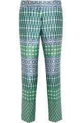 J.Crew  Printed Wool and Silk Blend Capri Pants - Lyst