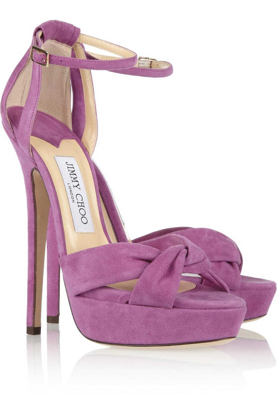 42a00b00092 Lyst - Jimmy Choo Greta Suede Sandals in Purple