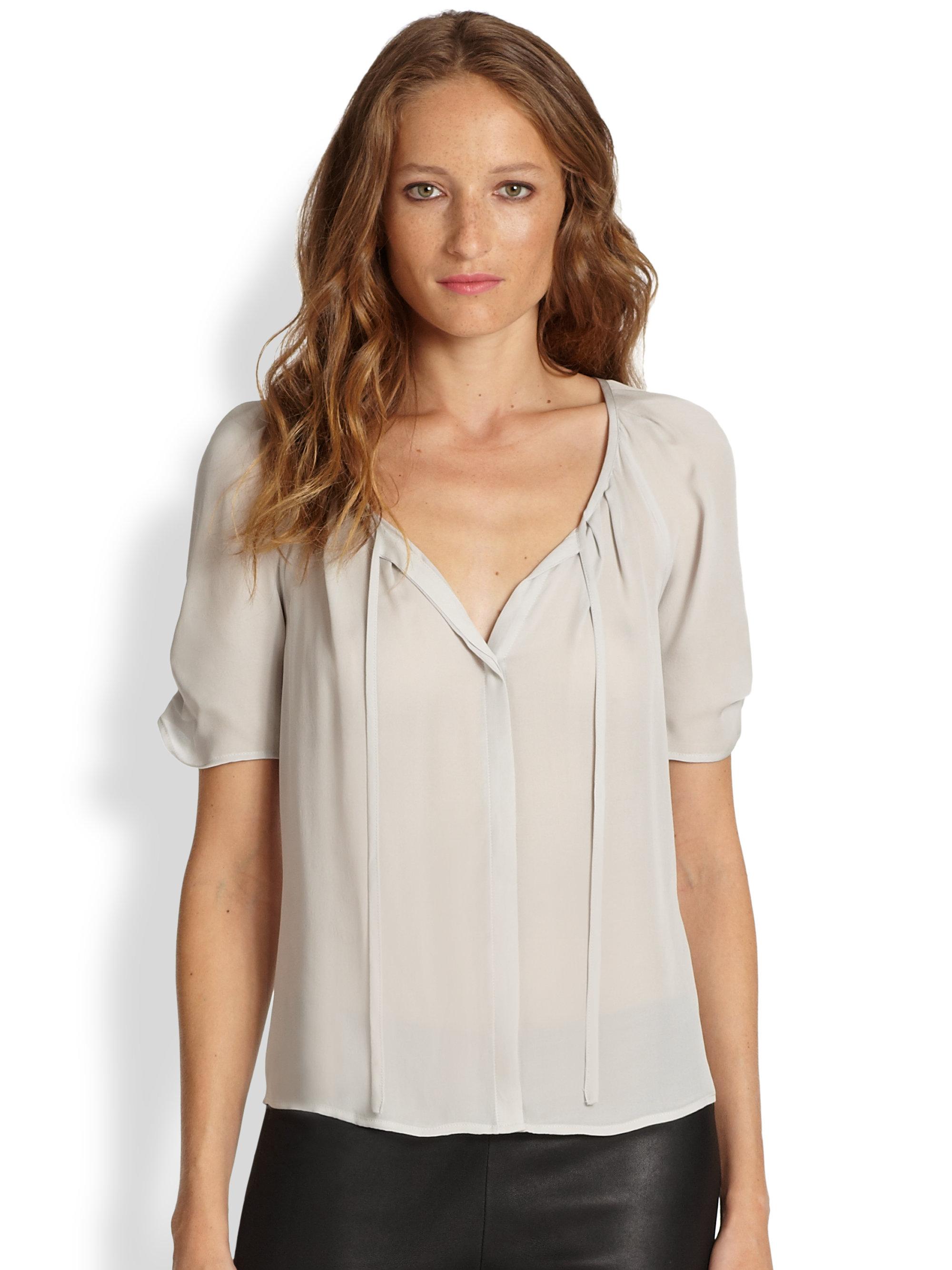 d6ec8be5cdf0b Lyst - Joie Berkeley Silk Pleated Blouse in Gray