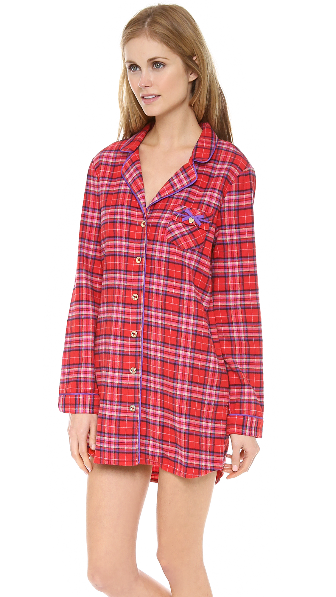 Juicy couture flannel nightshirt in red lyst for Womens flannel night shirts