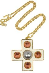 Kenneth Jay Lane Goldplated Crystal and Faux Pearl Necklace - Lyst