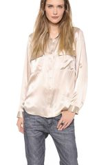 L'Agence Long Sleeve Two Pocket Blouse - Lyst