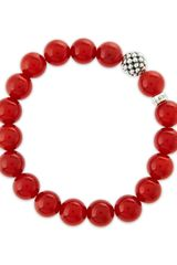 Lagos Caviarball Red Agate Beaded Stretch Bracelet - Lyst