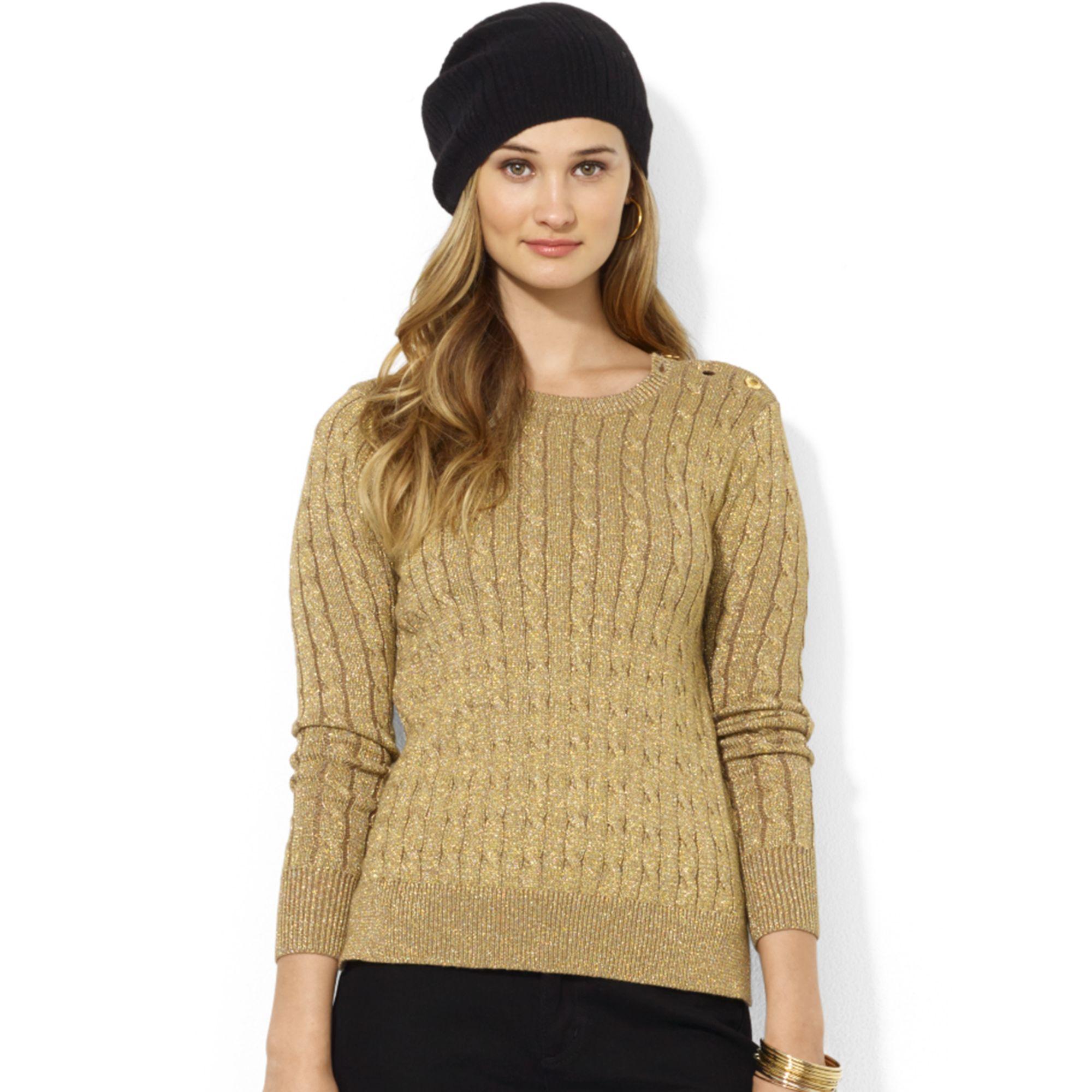 Lauren by ralph lauren Long Sleeve Cable Knit Crewneck Sweater in ...