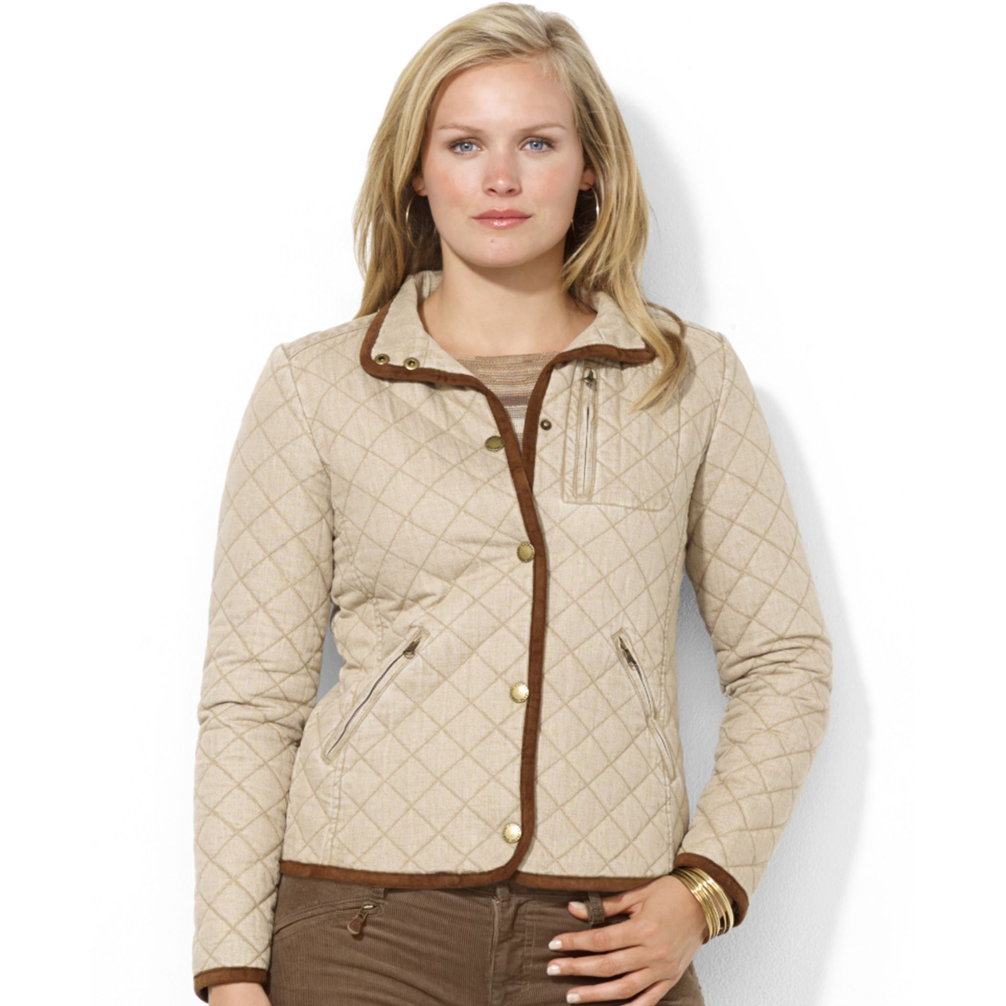 Lauren by ralph lauren Plus Size Snap Front Moleskin Trim Quilted ... : quilted jacket plus size - Adamdwight.com