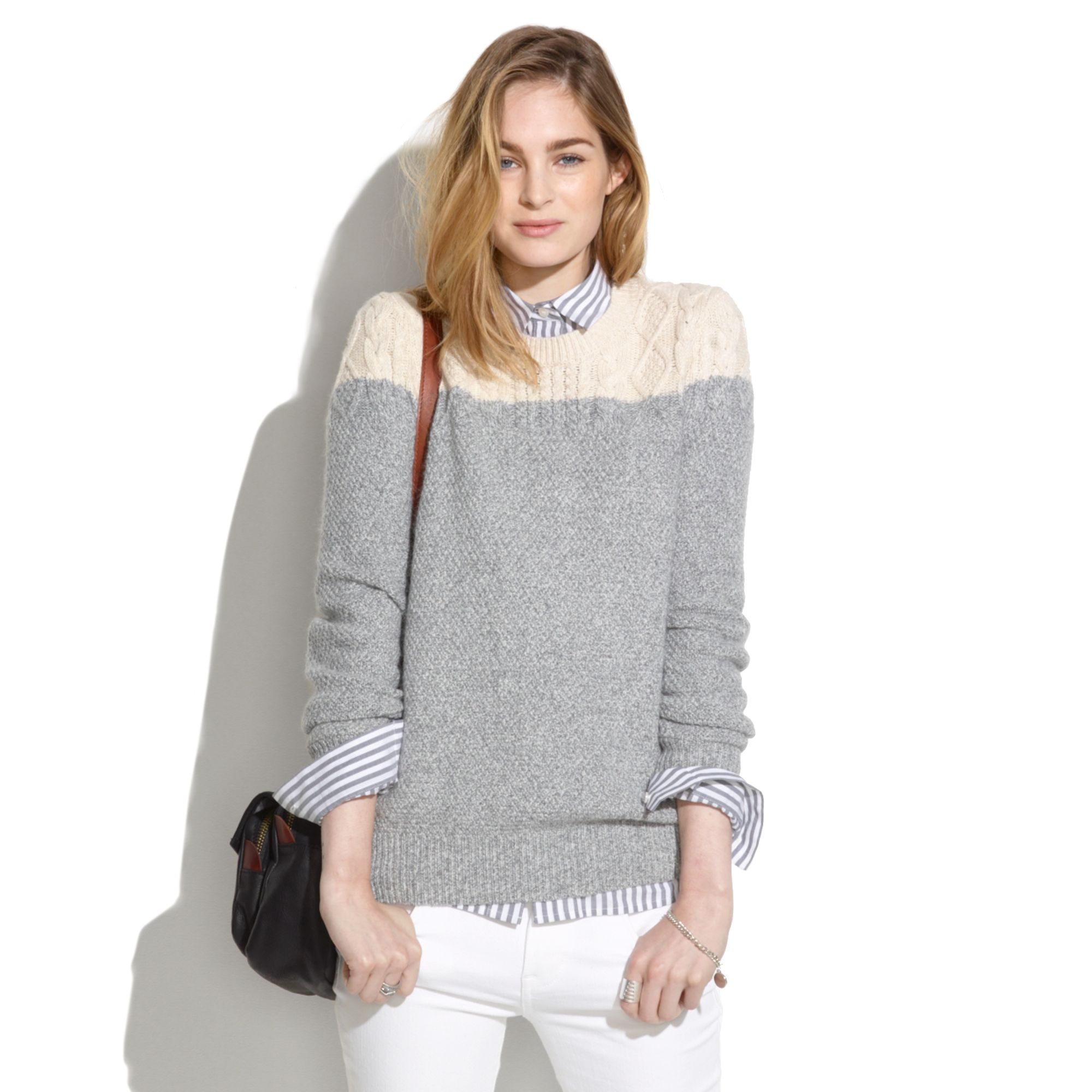 9da348a662 Madewell Colorblock Cable Knit Sweater in Gray - Lyst