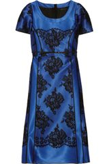 Marc Jacobs Satin and Cotton Blend Lace Dress - Lyst