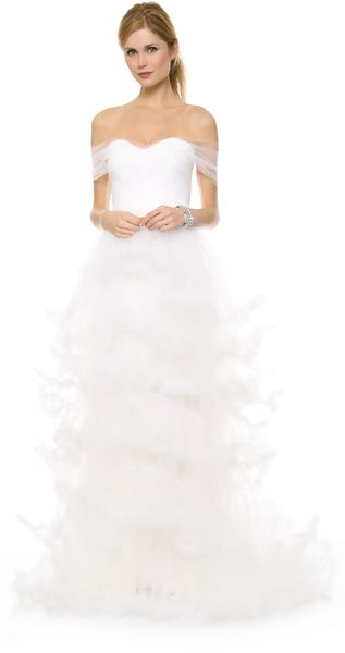 Marchesa Off Shoulder Tulle Ball Gown - Lyst