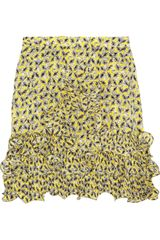 Marni Ruffled Printed Silk Mini Skirt - Lyst