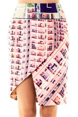 Mary Katrantzou Woody Rose Shard Print Skirt - Lyst
