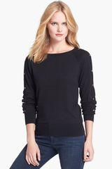 Michael by Michael Kors Studded Sleeve Sweater - Lyst
