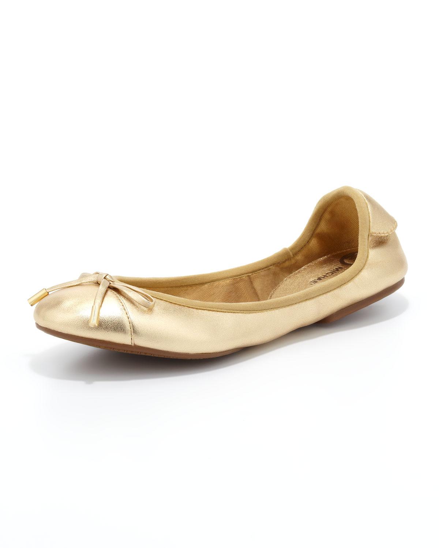 michael michael kors city metallic ballet flat in gold lyst. Black Bedroom Furniture Sets. Home Design Ideas