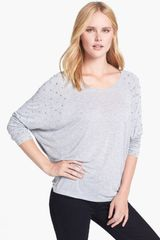Michael by Michael Kors Studded Sleeve Top - Lyst