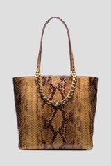 Michael by Michael Kors Tote Harper Large Python Embossed North South - Lyst