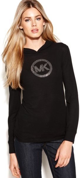 Michael Kors Longsleeve Studded logo Hooded in Black (Black/ Silver) - Lyst