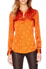 Michael Kors  Printed Satin Fitted Blouse - Lyst