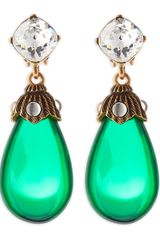 Oscar de la Renta Crystal Resin Drop Clipon Earrings Kelly Green - Lyst