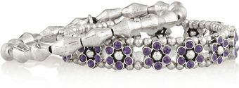 Philippe Audibert Set Of Two Flower Silverplated Swarovski Crystal Bracelets - Lyst