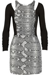 Pierre Balmain Paneled Snake print Ruched Jersey Mini Dress - Lyst