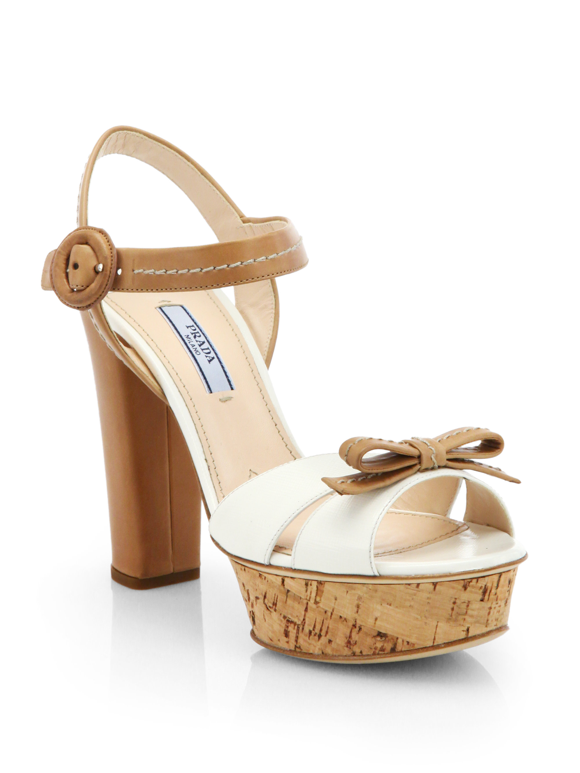 4fd9583a093 Lyst - Prada Bicolor Leather Cork Platform Sandals in White