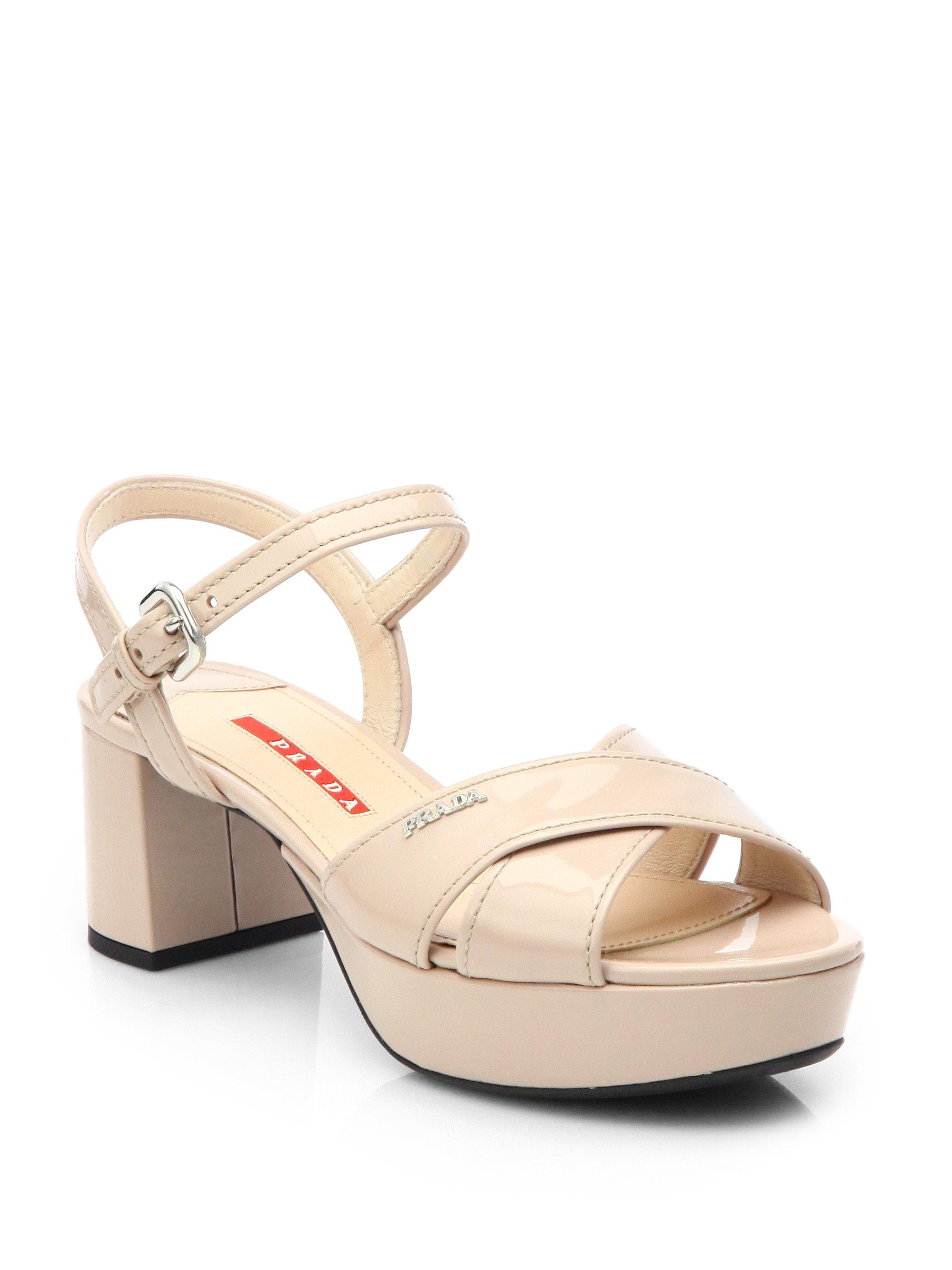 80cda9bba2a Lyst - Prada Patent Leather Crisscross Platform Sandals in Natural