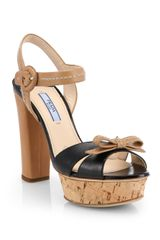 Prada Bicolor Leather Cork Platform Sandals - Lyst